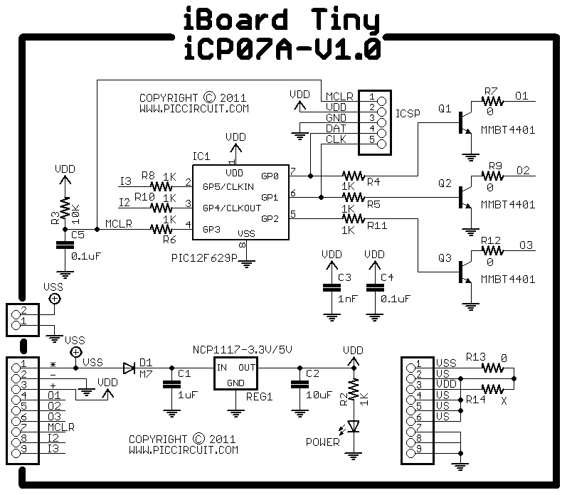 iCP07A - iBoard Tiny Extensions (Microchip 8pin PIC12F675 IO Board ...