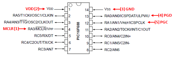PIC 14 Pin Series ICSP Wiring Diagram