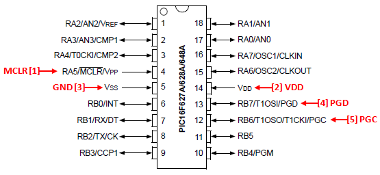 PIC 18 Pin Series ICSP Wiring Diagram