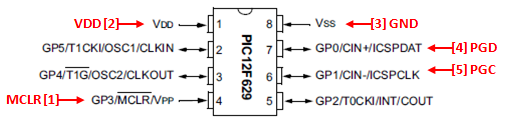 PIC 8 Pin Series ICSP Wiring Diagram