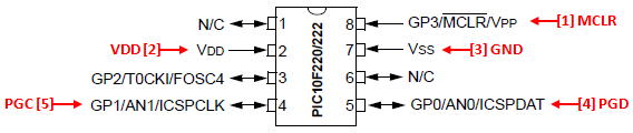 PIC10F Series ICSP Wiring Diagram