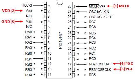 PIC16F57 ICSP Wiring Diagram