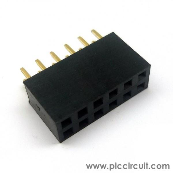 Pin Socket  2 54mm  Straight  2x6 Way