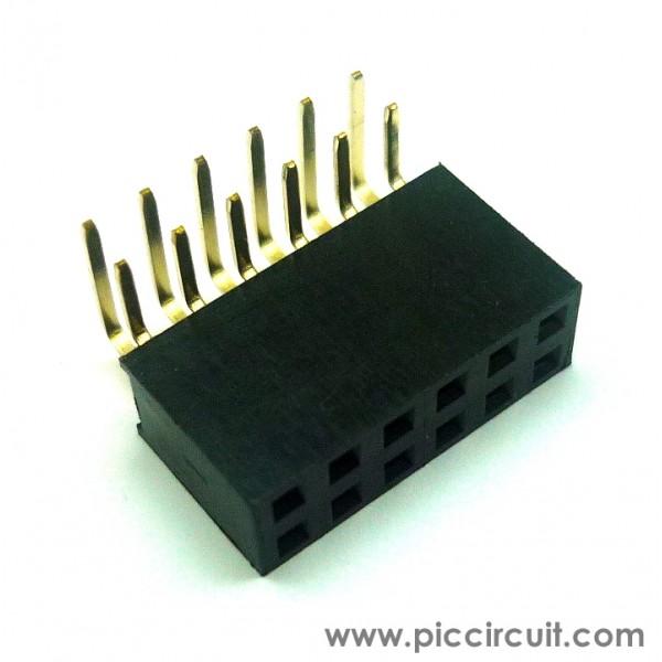Pin Socket  2 54mm  Right Angle  2x6 Way