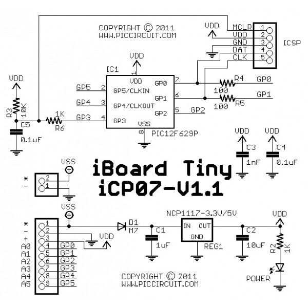icp07 iboard tiny  microchip 8 pin pic12 development board