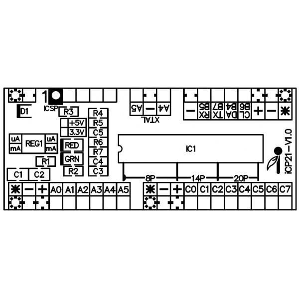 Icp21 Iboard Tiny X20 Microchip 8 14 Amp 20 Pin Pic12