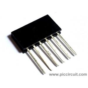 Pin Socket (2.54mm, Straight, 1x6 Way, A:10mm)