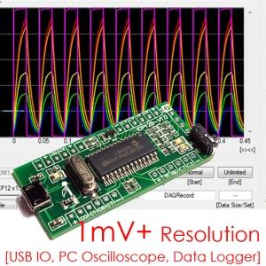 iCP12B (1mV+) - usbStick (Micro USB DAQ, PC Oscilloscope, Data Logger, Frequency Generator, PIC18F2553 IO Board)