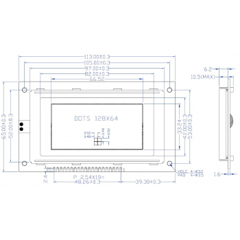 64x128 Graphic LCD Display Dimension