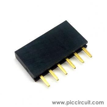 Pin Socket (2.54mm, Straight, 1x6 Way)