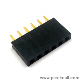 Pin Socket (2.54mm, Straight, 1x6 Way)
