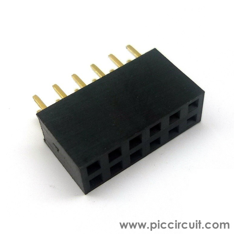 Pin Socket (2.54mm, Straight, 2x6 Way)