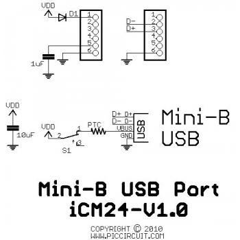 iCM24 - Mini-B USB Port Schematic