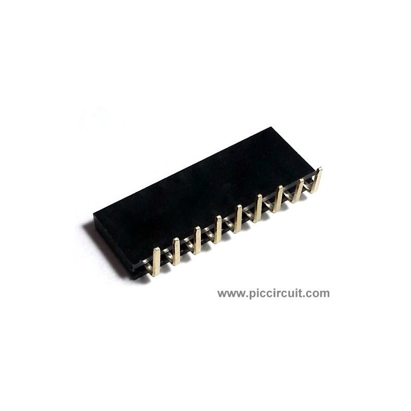 Pin Socket (2.54mm, Right Angle, 1x9 Way)