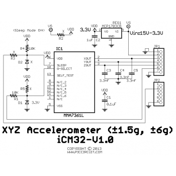 iCM32 - XYZ Accelerometer (±1.5g, ±6g) Schematic